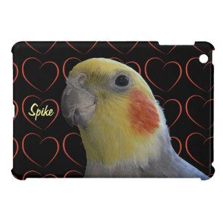 Pájaro y corazones del Cockatiel iPad Mini Cárcasa
