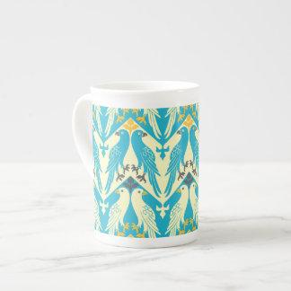 Pájaro y estampado de flores del vintage en azul tazas de porcelana