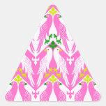 Pájaro y estampado de flores del vintage en rosa calcomania de trianguladas