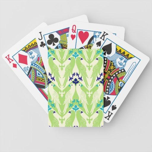 Pájaro y estampado de flores del vintage en verde barajas de cartas