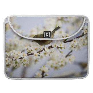 Pájaro y flor de cerezo lindos funda macbook pro
