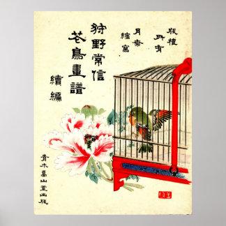 Pájaro y flor enjaulados 1870 poster