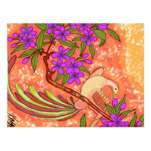Pájaro y floral postales
