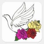 Pájaro y flores calcomanía cuadradase