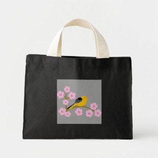 Pájaro y flores de la primavera bolsa tela pequeña