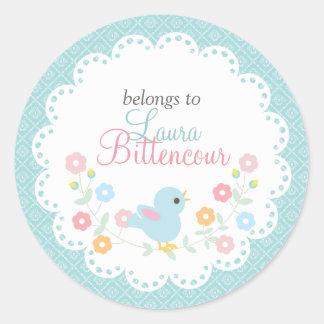 Pájaro y flores personalizados - etiquetas del vin