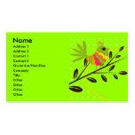 Pájaro y flores retros plantilla de tarjeta de visita