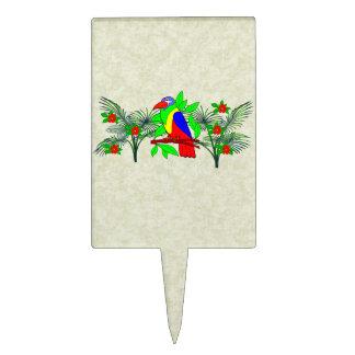 Pájaro y flores tropicales decoraciones para tartas
