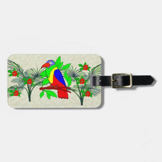 Pájaro y flores tropicales etiqueta de equipaje