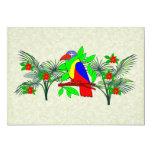 Pájaro y flores tropicales invitación 12,7 x 17,8 cm