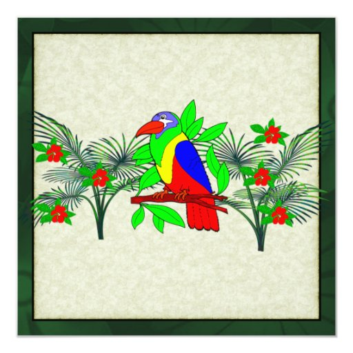 Pájaro y flores tropicales invitación 13,3 cm x 13,3cm