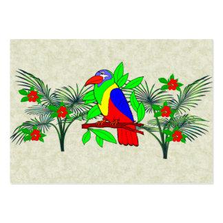 Pájaro y flores tropicales plantilla de tarjeta personal
