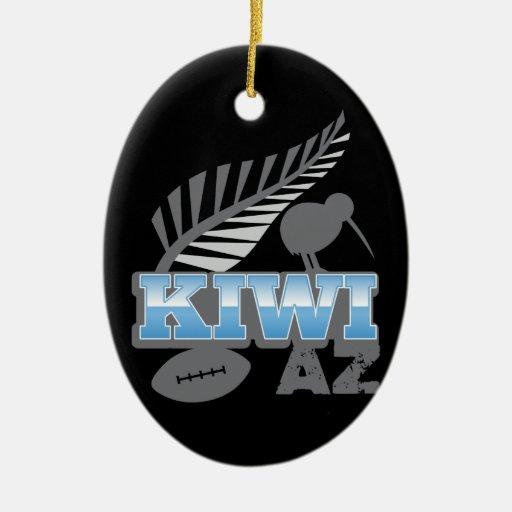 Pájaro y helecho de plata Nueva Zelanda del rugbi Adorno Navideño Ovalado De Cerámica