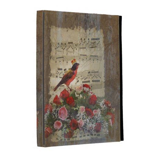 Pájaro y hoja de música rojos lindos del vintage
