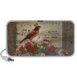 Pájaro y hoja de música rojos lindos del vintage mp3 altavoces