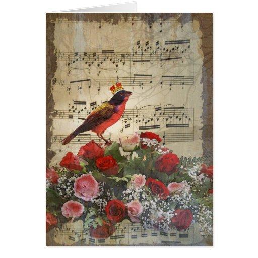 Pájaro y hoja de música rojos lindos del vintage tarjetón