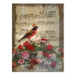Pájaro y hoja de música rojos lindos del vintage postal
