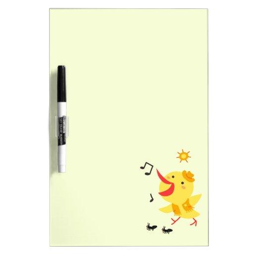 Pájaro y hormigas felices tableros blancos