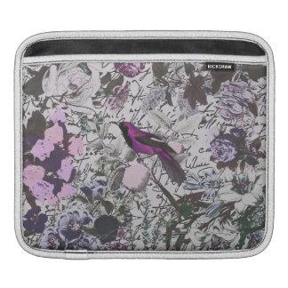 Pájaro y impresión floral púrpuras del vintage con mangas de iPad