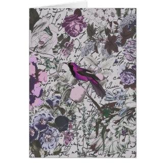 Pájaro y impresión floral púrpuras del vintage con tarjeta