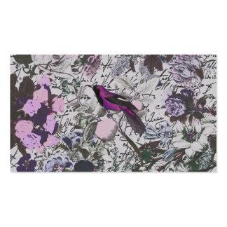 Pájaro y impresión floral púrpuras del vintage con tarjetas de visita