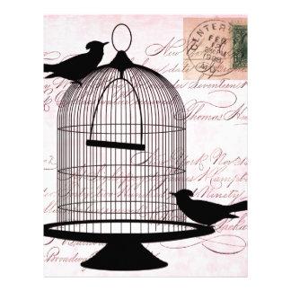 Pájaro y jaula Steampunk Membrete
