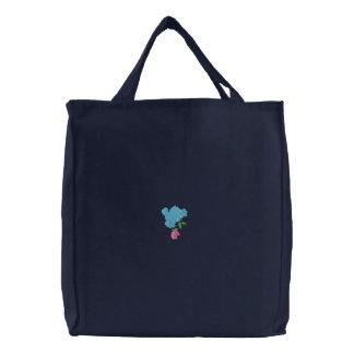 Pájaro y la bolsa de asas reutilizable bordada ros