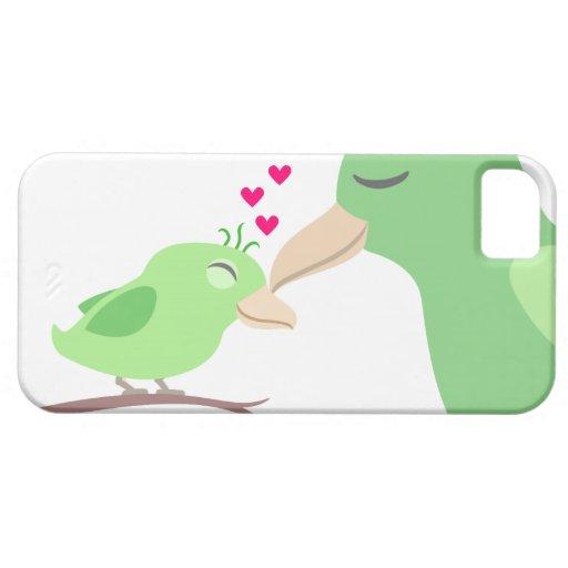 Pájaro y madre de bebé con los corazones iPhone 5 Case-Mate carcasas