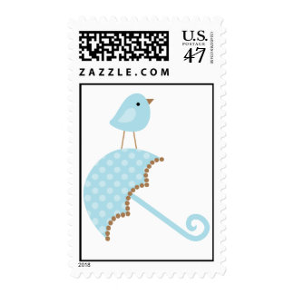 Pájaro y paraguas azules sello