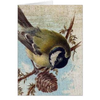 Pájaro y Pinecone del vintage Tarjeta De Felicitación