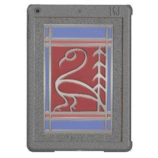 Pájaro y pino - rojo azul gris del art déco -