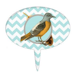 Pájaro y pluma del vintage decoración para tarta
