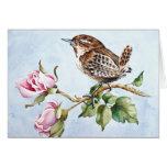 Pájaro y rosas minúsculos tarjeta