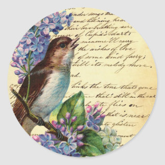 Pájaro y tipografía I del Victorian Pegatina Redonda