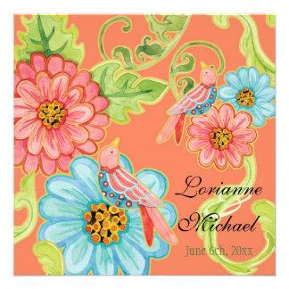 Pájaros 3 boda moderno floral del amor del paraís anuncio personalizado