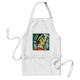 Pájaros abstractos orientales de la señora del sil delantal