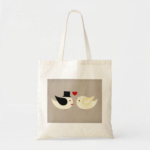 Pájaros amarillos casados bolsa de mano