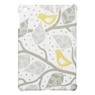 pájaros amarillos en un árbol con las hojas grises iPad mini fundas