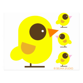 Pájaros amarillos postal