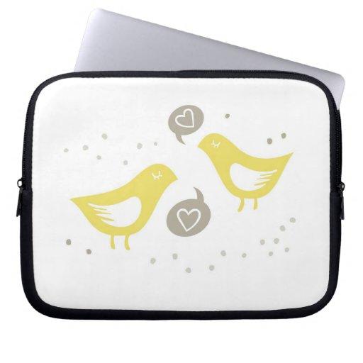 pájaros amarillos que hablan de amor mangas portátiles
