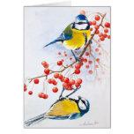 Pájaros amarillos tarjeta