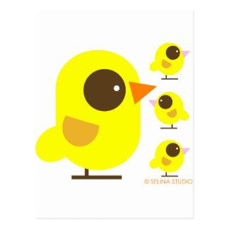 Pájaros amarillos tarjeta postal