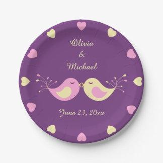 Pájaros amarillos violetas del amor personalizados platos de papel