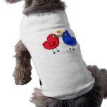 pájaros anaranjados lindos del amor del corazón camisas de perritos