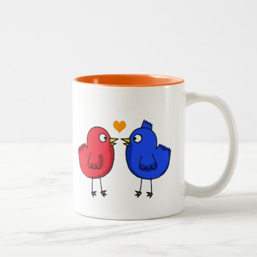 pájaros anaranjados lindos del amor del corazón tazas de café