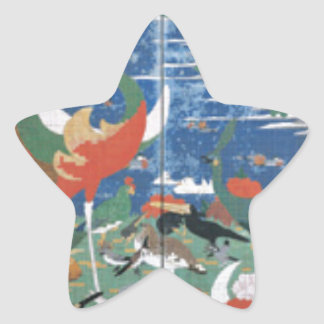 Pájaros, animales, y plantas florecientes en pegatina en forma de estrella
