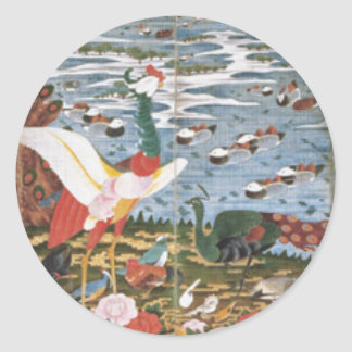 Pájaros, animales, y plantas florecientes en pegatina redonda