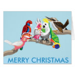 Pájaros australianos del navidad tarjetón