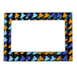 Pájaros azules anaranjados marcos magnéticos para fotos