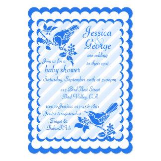 """Pájaros azules claros con las rayas diagonales invitación 5"""" x 7"""""""